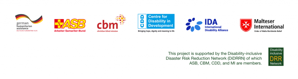DiDRR logo set consisting of the logo of German Federal Foreign Office, ASB, CBM, CDD, IDA, and MI, as well as DiDRRN logo.